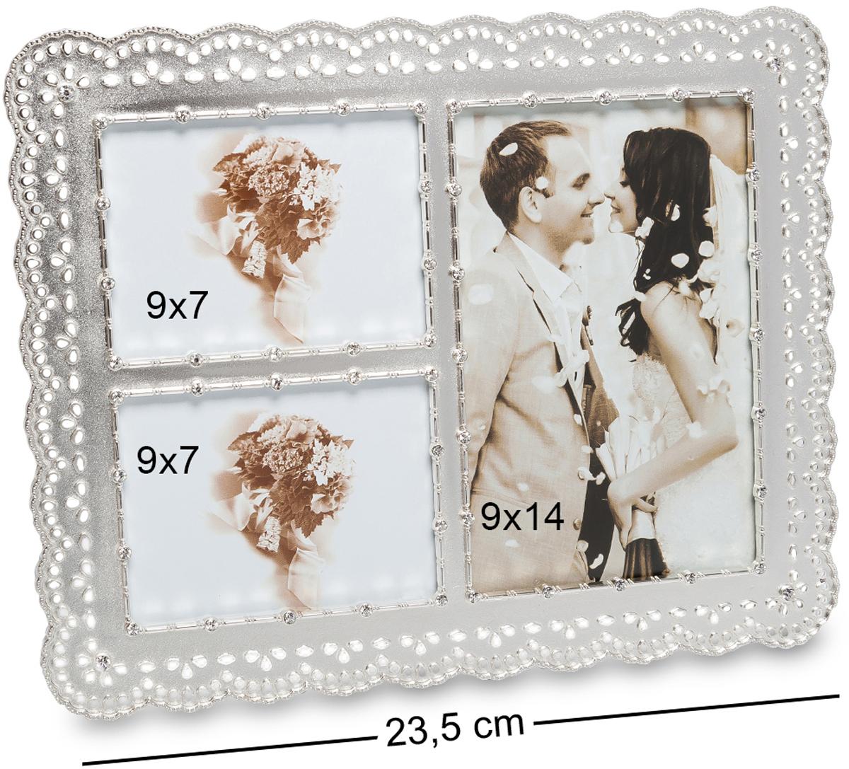 Фоторамка Bellezza Casa Искры любви, на 3 фото: 9х14, 9х7. CHK-189RG-D31SФоторамка на 3 фото для фотографий 9х14 и 9х7 см.Само название этой фоторамки говорит о том, что она предназначена для любовных снимков, на которых запечатлены самые яркие моменты ваших отношений. Например, в первой ячейке может быть первый подаренный букет цветов, или снимок, сделанный на первом свидании. Во вторую ячейку можно поместить свадебную фотографию, а в третью - фотографию с вашим первенцем. Порядок, да и сами снимки могут быть любыми, ведь главное не это. Главное - это то, что самые теплые воспоминания всегда будут с вами, пока в фоторамке Искры любви стоят памятные фото.
