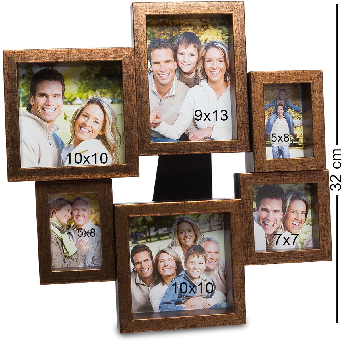 Панно из фоторамок Bellezza Casa Семейный винтаж, на 6 фото: 9х13, 5х8, 7х7, 10х10. CHK-204V4140/1SПанно из фоторамок на 6 фото для фотографий 9х13, 5х8, 7х7 и 10х10 см.Фотографии обладают уникальным свойством сохранять памятные моменты семейной истории на долги годы, и даже спустя десятки лет вы можете взглянуть на снимок и заново мысленно пережить уже давно ушедшее время. Семейные снимки, стоящие на столике или в шкафу - это то, без чего невозможно представить себе дом любой семьи. Фоторамка-панно Семейный винтаж - это не одна рамка для фотографии, а целых 6, соединенных в единое целое. Рамки имею разный размер и форму, но вместе выглядят необычно и здорово. Сохраните самые важные моменты вашей жизни с помощью рамки Семейный винтаж, и они будут неподвластны времени.