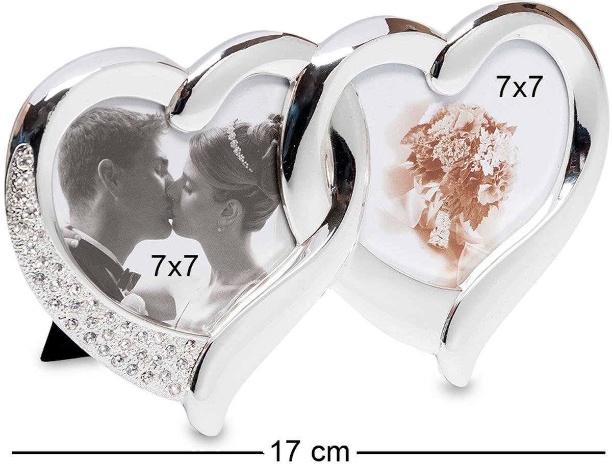 Фоторамка Bellezza Casa Влюбленные сердца, на 2 фото: 7х7. CHK-010THN132NФоторамка Сердечко на 2 фото для фотографий 7х7 см.Два прекрасных сердечка соединены вместе, подобно обручальным кольцам. Серебристый прохладный материал приятно взять в руки. Фоторамка, которая может превратиться в прекрасный подарок на юбилей свадьбы, годовщину знакомства, любую другую дату — тем, кто влюблен, не требуется долго искать повод для приятного сюрприза.