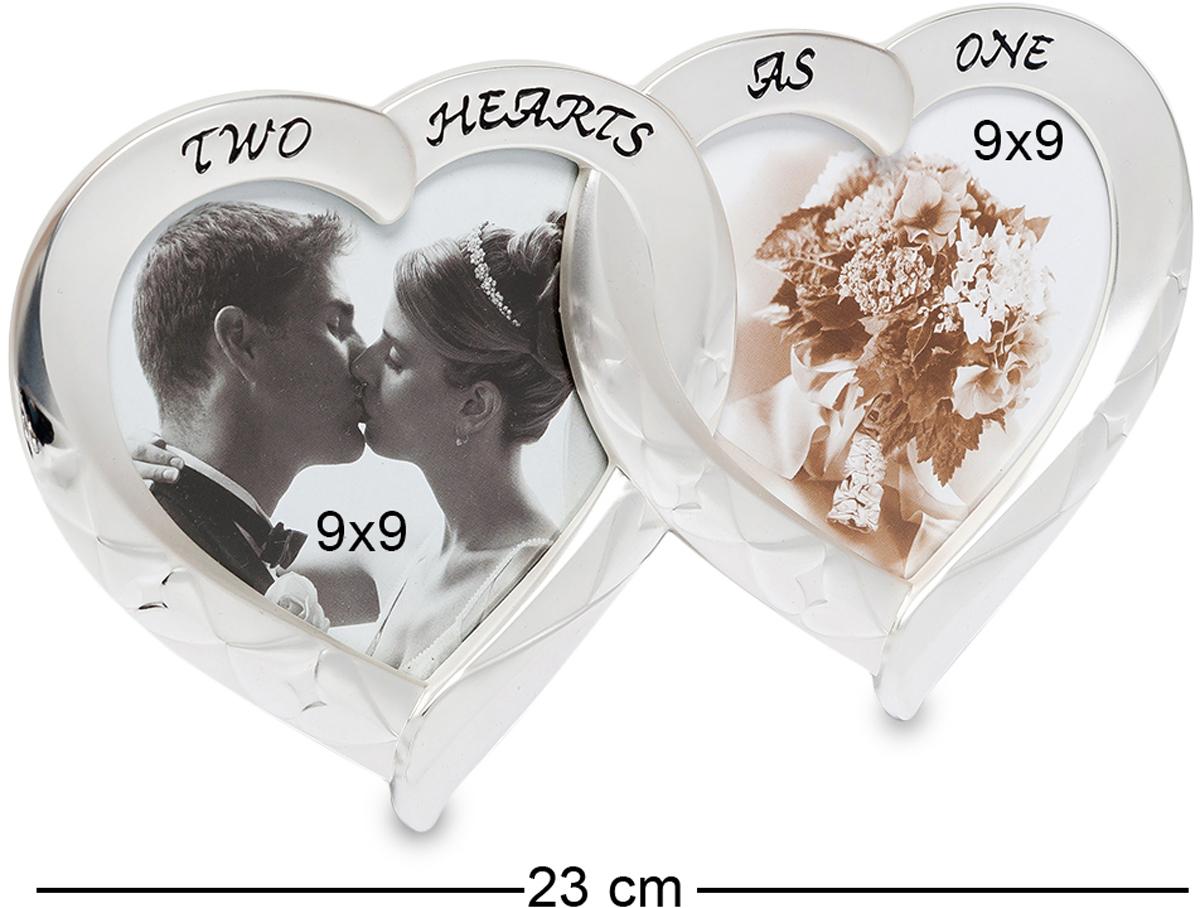 Фоторамка Bellezza Casa Влюбленные сердца, на 2 фото: 9х9. CHK-01328907 4Фоторамка Сердечко на 2 фото для фотографий 9х9 см.Фоторамка Влюбленные сердца изготовлена из фарфора, покрытого сверху серебряной краской. Two hearts as one - Два сердца в одном. Удивительная рамка, которая станет отличным подарком молодоженам или на годовщину свадьбы. Красивые гладкие формы, изящный внешний вид. Рамка в виде пары сердец станет украшением для спальни и зала. Металлизированный внешний вид гармонично впишется в современный интерьер.