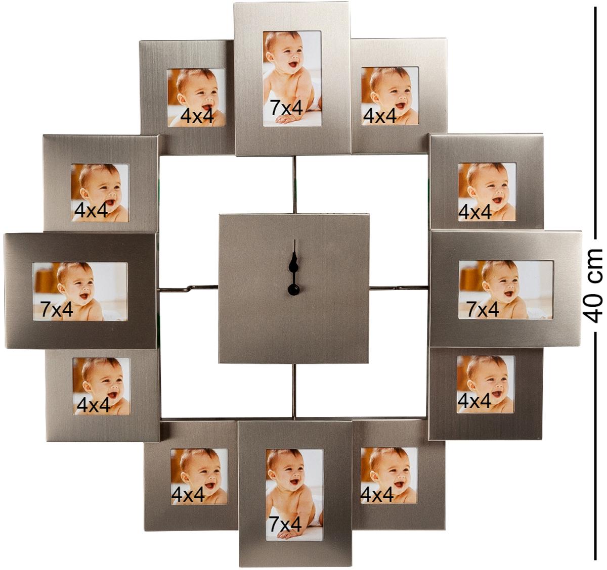 Панно-часы Bellezza Casa В ногу со временем, на 12 фото: 4х4, 7х4. CHK-02294672Панно из фоторамок для 12 фотографий с часами (метал мат.)Для фотографий 4х4 и 7х4 см.Если в семье растет маленький ребенок, вполне понятно желание родителей его постоянно фотографировать и иметь перед глазами эти фотографии, чтобы отслеживать, насколько быстро он растет и как изменяется с возрастом. Для этого очень удобно использовать такое панно-часы, в котором вместо часовых делений использованы маленькие рамочки для фотографий размером 4х4 и 7х4 сантиметра. Постарайтесь фотографировать вашего малыша каждый месяц, и тогда за год вы заполните все рамочки и получите великолепную подборку, рассказывающую о первых месяцах жизни ребенка. В дальнейшем можно поменять снимки, и тогда часы будут показывать время роста в течение первых лет.