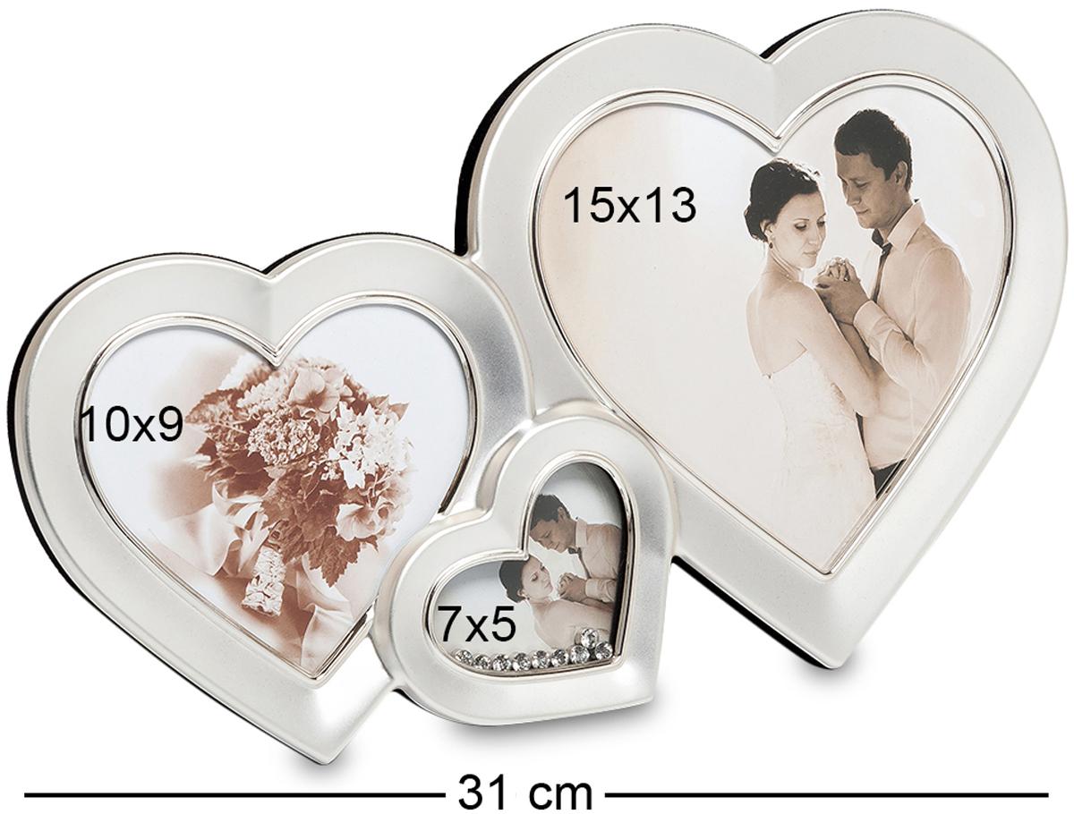 Фоторамка Bellezza Casa Влюбленные сердца, на 3 фото: 10х9, 7х5, 15х13. CHK-03925051 7_желтыйФоторамка Сердце на 3 фото для фотографий 10х9, 7х5 и 15х13 см.Если вы хотите порадовать любимую на вашу годовщину, то преподнесите ей удивительно необычную, неординарную рамку для фото. Влюбленные сердца – это рамка превосходная, роскошная, именно для этого и создана. Здесь вы сможете разместить фотографии оригинальные по своим формам и разные по размерам. Все три рамочки, соединенные в одну имеют форму сердечек. Рамочка не перегружена деталями, и это является ее огромным плюсом перед другими рамками. Деталей в ней немного, но это делает ее особенной. Лишь одно маленькое сердце украшено мелкими камешками, но в этом вся прелесть этого роскошного места для фотографии.