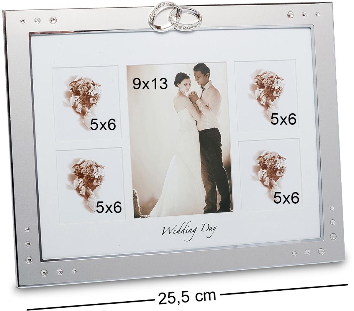 Фоторамка Bellezza Casa Счастливый день, на 5 фото: 9х13, 5х6. CHK-071RG-D31SФоторамка на 5 фото для фотографий 9х13 и 5х6 см.Фоторамка цвета стали изыскана и роскошна. Ее можно разместить на столе в гостиной, чтобы все любовались вашими свадебными фото. Ее достоинством является то, что она не переполнена дополнительными деталями. А небольшие камни и два кольца, которые венчают рамку, смотрятся просто изумительно. Все эти детали настолько уместны здесь, что они не будут отвлекать от самого главного – свадебного фото.
