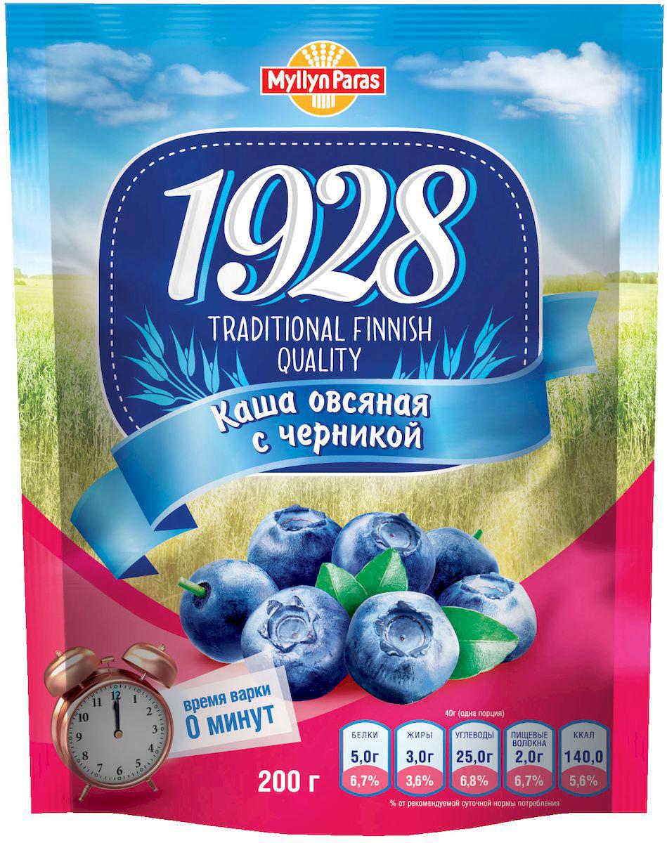 Myllyn Paras каша овсяная с черникой и сахаром, 200 г