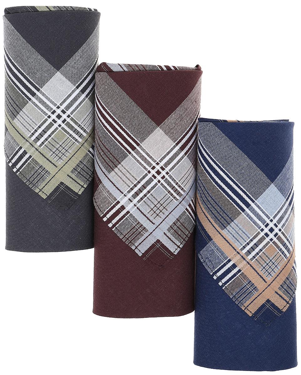 Платок носовой мужской Zlata Korunka, цвет: темно-синий, антрацит, каштановый, 3 шт. М55В. Размер 43 х 43 см39864|Серьги с подвескамиМужские носовые платки Zlata Korunka изготовлены из натурального хлопка, приятны в использовании, хорошо стираются, материал не садится и отлично впитывает влагу.В упаковке 3 штуки.