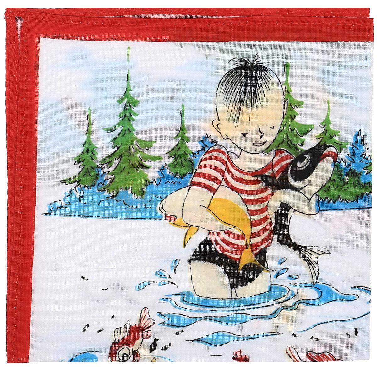 Платок носовой детский Zlata Korunka, цвет: мультиколор, 45453. Размер 27 х 27 см39864|Серьги с подвескамиДетский носовой платочек Zlata Korunka изготовлен из натурального хлопка, приятен в использовании, хорошо стирается, материал не садится и отлично впитывает влагу. Оформлен принтом с изображением мальчика на рыбалке.