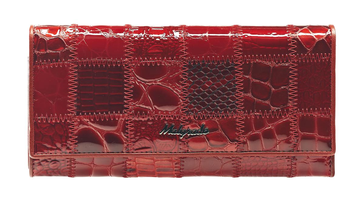 Кошелек женский Malgrado, цвет: красный. 72032-3A-444ABM8434-58AEСтильный кошелек Malgrado изготовлен из натуральной кожи красного цвета с декоративным комбинированным тиснением и вмещает в себя купюры в развернутом виде в полную длину. Внутри содержит четыре отделения для купюр, одно из которых на молнии, восемь отделений для дисконтных карт, визиток, кредиток, один прозрачный кармашек, в который можно положить пропуск, проездной документ или фотографию, отделение для мелочи, закрывающиеся на металлический замок и дополнительный потайной карман. Закрывается кошелек клапаном на кнопку.Кошелек упакован в подарочную металлическую коробку с логотипом фирмы. Такой кошелек станет замечательным подарком человеку, ценящему качественные и практичные вещи. Характеристики:Материал: натуральная кожа, текстиль, металл. Размер кошелька: 18,5 см х 9 см х 3 см. Цвет: черный. Размер упаковки:23 см х 13 см х 4,5 см. Артикул: 72032-3A-444A Red.