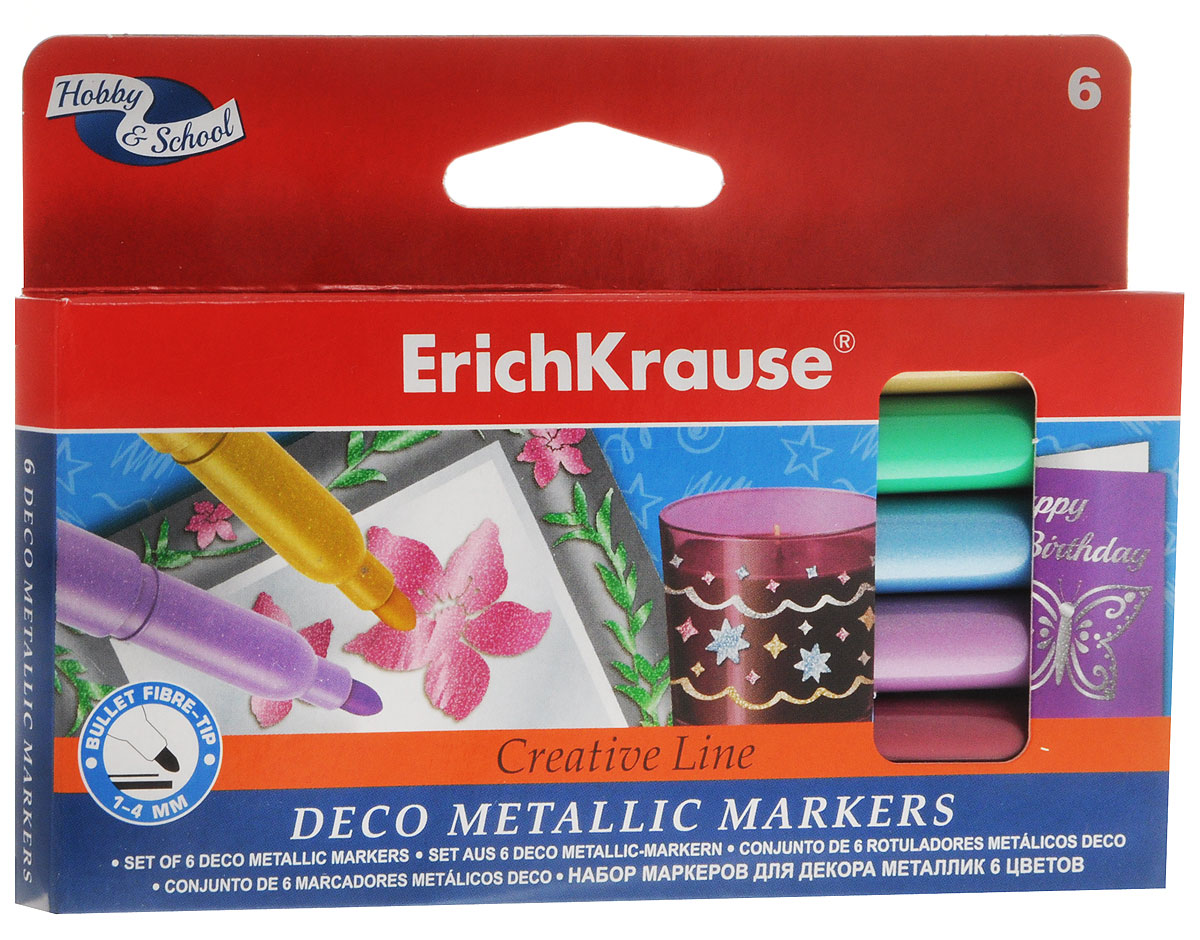Набор фломастеров Erich Krause Metallic предназначен для декорирования различных поверхностей. Чернила фломастеров хорошо ложатся на гладкие материалы: пластик, керамику, металл и стекло. Яркий цвет чернил проявляется после высыхания. Чернила на водной основе, легко смываются с поверхности при помощи воды.