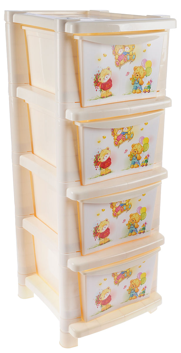 Little Angel Детский комод Мишки с цветами 4 ящика72840Вместительный, современный и удобный дизайн комода Little Angel Мишки с цветами идеально подойдет для детской комнаты. Сглаженные углы и облегченная конструкция комода безопасны даже для самых активных малышей. Спокойные пастельные цвета комода станут прекрасным дополнением для детской комнаты.