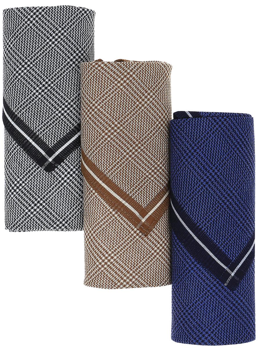 Платок носовой мужской Zlata Korunka, цвет: черный, бежевый, синий, 3 шт. М55А. Размер 43 х 43 см39864|Серьги с подвескамиМужские носовые платки Zlata Korunka изготовлены из натурального хлопка, приятны в использовании, хорошо стираются, материал не садится и отлично впитывает влагу.В упаковке 3 штуки.