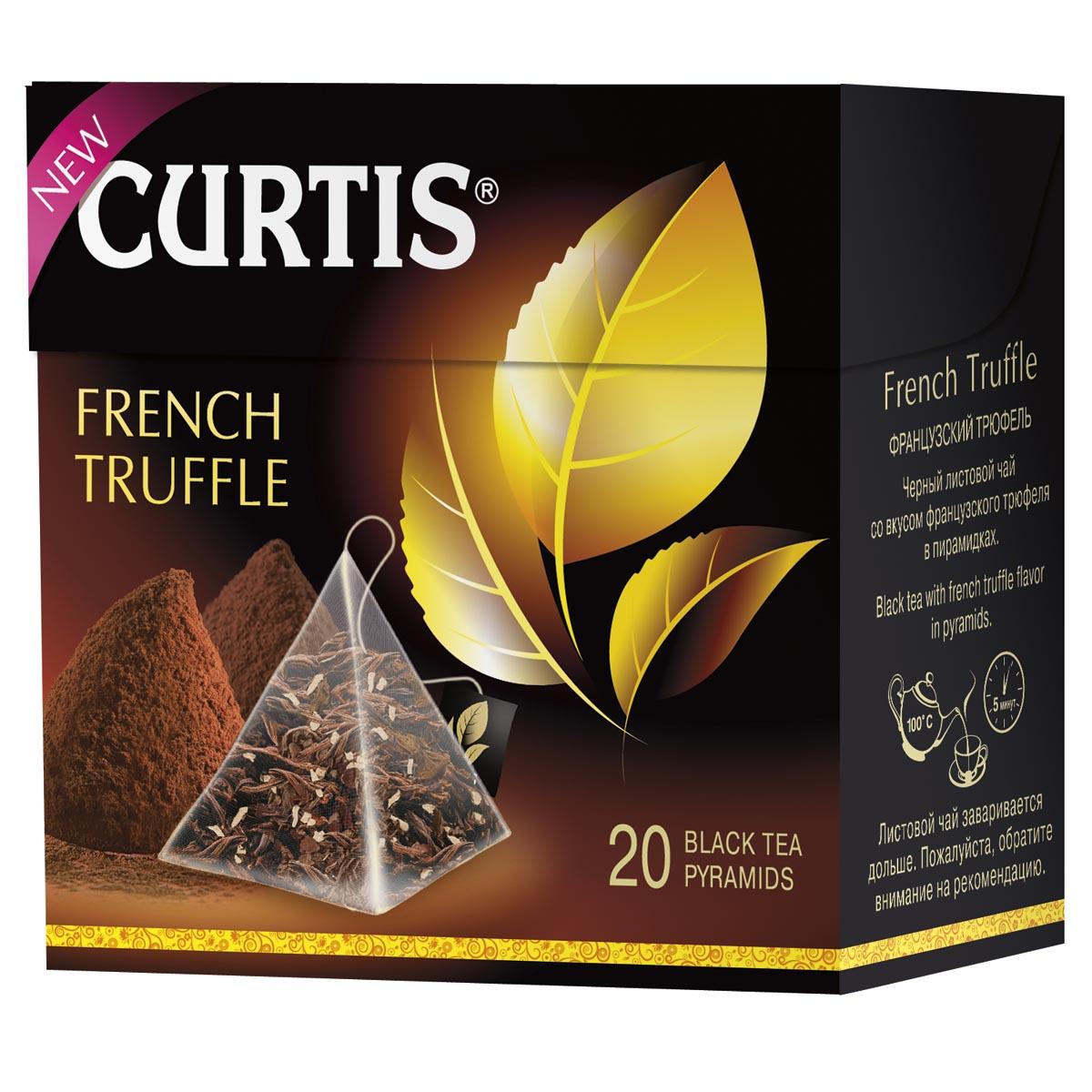 Curtis French Truffle черный чай в пирамидках, 20 шт0120710Соблазнительный черный чай со вкусом нежного шоколадного трюфеля и сливочной нотой - необычайно, словно вечер на Лазурном берегу. Насладитесь обновленным купажом черного листового чая.