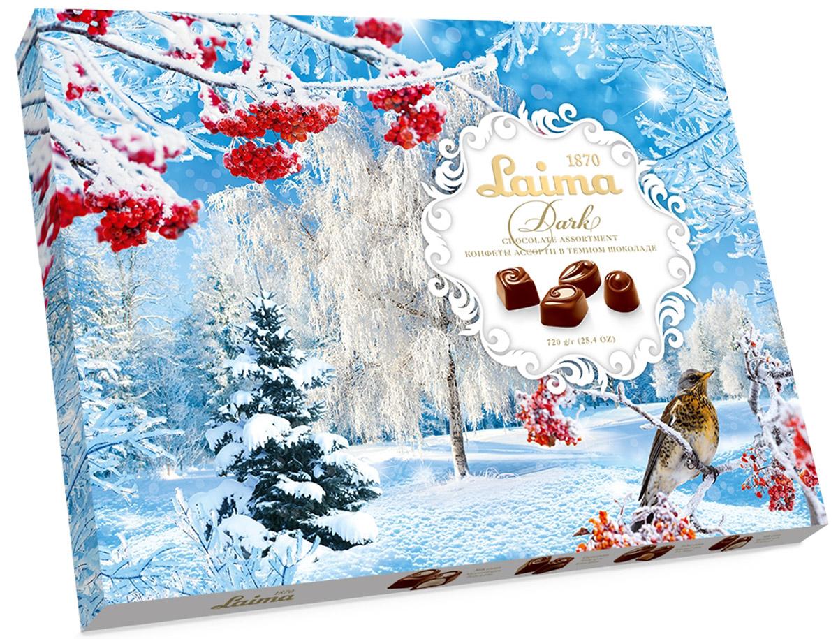 Laima Новогоднее Ассорти конфет в темном шоколаде, 720 г0120710Огромная полностью заполненная коробка конфет в темном шоколаде: 4 разные формы с 3 начинками -молочный крем, крем-какао, крем-ирис-тоффи.