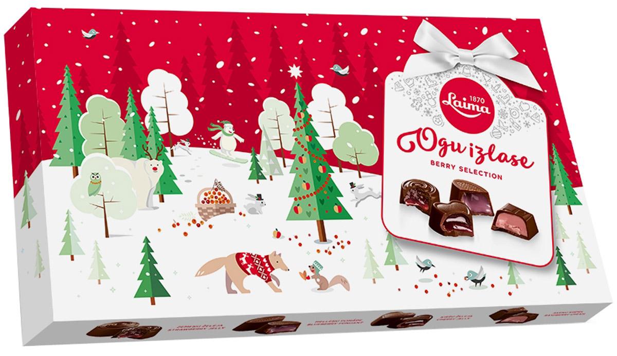 Laima Ассорти с ягодными начинками, 210 г5060295130016Ассорти шоколадных конфет с 4 видами ягодных начинок: вишневой, малиновой, клубничной, черничной. Ягодное лукошко в одной коробке.