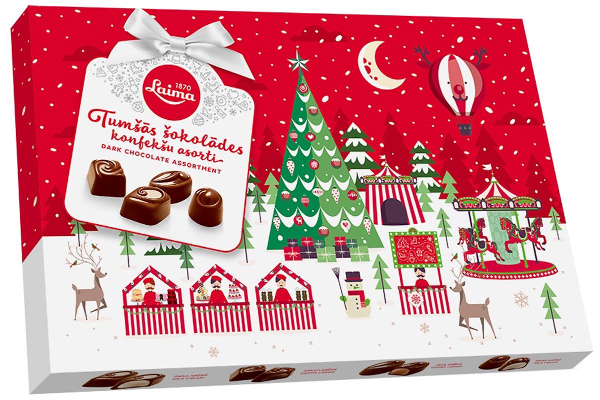 Laima Новогоднее Ассорти конфет в темном шоколаде, 360 г0120710Ассорти конфет в темном шоколаде. 4 разные формы, 3 начинки: молочный крем, крем-какао, крем-ирис-тоффи.