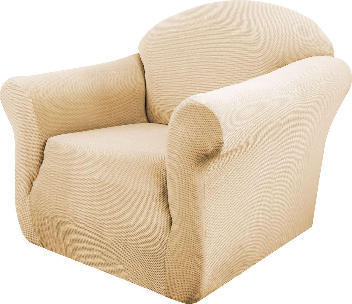 Чехол на кресло Медежда Бирмингем, цвет: бежевый1401031103002Чехол на кресло Медежда Бирмингем изготовлен из стрейчевого велюра (100% полиэстера). Тонкий геометрический дизайн добавляет уют помещению. Велюр - по праву один из уверенных лидеров среди мебельных тканей. Поверхность велюра приятна для прикосновений. Сочетание нежности и прочности - визитная карточка велюра. Вещи из него даже спустя много лет смотрятся, как новые. Чехол легко растягивается и хорошо принимает форму кресла, подходит для большинства стандартных кресел с шириной спинки от 80 см до 110 см и высотой не более 95 см. За счет специальных фиксаторов чехол прочно держится на мебели, не съезжает и не соскальзывает. Имеется инструкция в картинках по установке чехла.