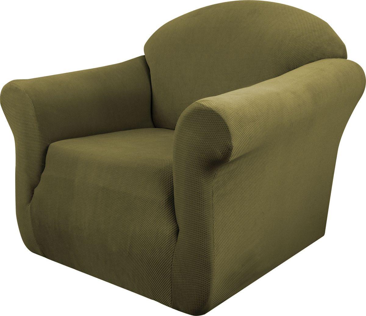 Чехол на кресло Медежда Бирмингем, цвет: оливковыйTHN132NЧехол на кресло Медежда Бирмингем изготовлен из стрейчевого велюра (100% полиэстера). Тонкий геометрический дизайн добавляет уют помещению. Велюр - по праву один из уверенных лидеров среди мебельных тканей. Поверхность велюра приятна для прикосновений. Сочетание нежности и прочности - визитная карточка велюра. Вещи из него даже спустя много лет смотрятся, как новые. Чехол легко растягивается и хорошо принимает форму кресла, подходит для большинства стандартных кресел с шириной спинки от 80 см до 110 см и высотой не более 95 см. За счет специальных фиксаторов чехол прочно держится на мебели, не съезжает и не соскальзывает. Имеется инструкция в картинках по установке чехла.
