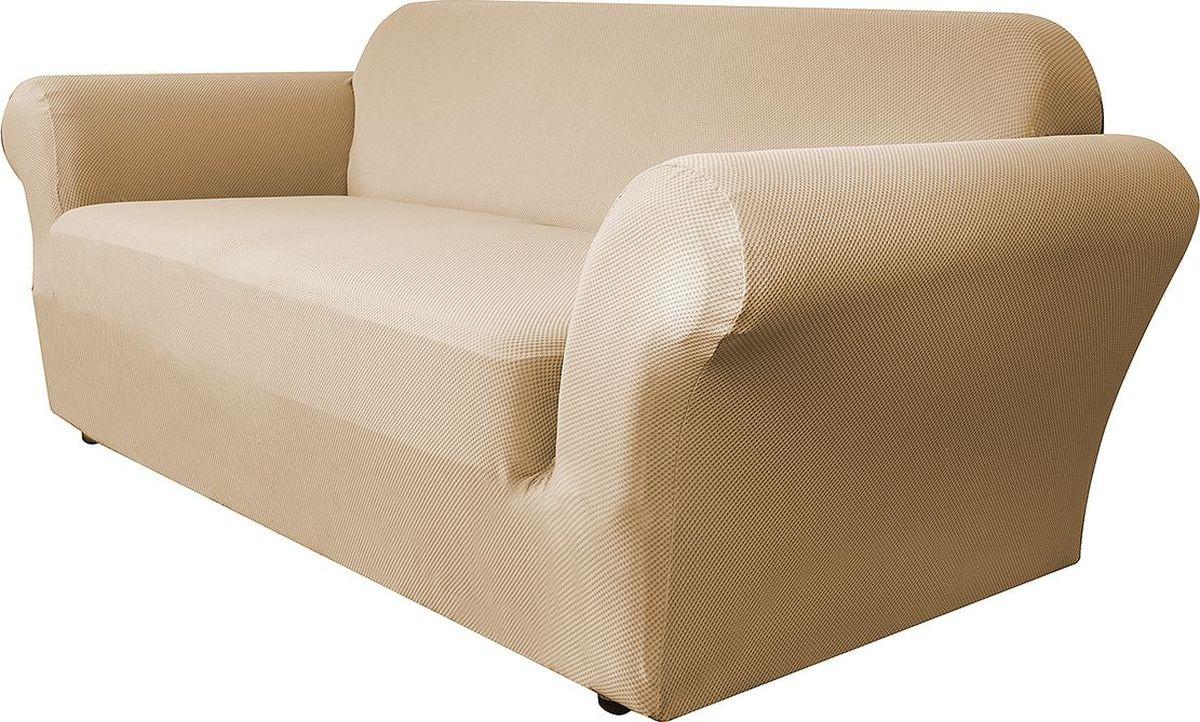 Чехол на двухместный диван Медежда Бирмингем, цвет: бежевый54 009303Чехол на двухместный диван Медежда Бирмингем изготовлен из стрейчевого велюра (100% полиэстер). Тонкий геометрический дизайн добавляет уют помещению. Велюр - по праву один из уверенных лидеров среди мебельных тканей. Поверхность велюра приятна для прикосновений. Сочетание нежности и прочности - визитная карточка велюра. Вещи из него даже спустя много лет смотрятся, как новые. Чехол легко растягивается и хорошо принимает форму дивана, подходит для большинства стандартных диванов с шириной спинки от 145 см до 185 см. За счет специальных фиксаторов чехол прочно держится на мебели, не съезжает и не соскальзывает. Имеется инструкция в картинках по установке чехла. Ширина спинки: 145 см-185 см. Длина подлокотника: 60-80 см см. Высота сиденья от пола: 45-50 см. Глубина сиденья: 45-55 см.