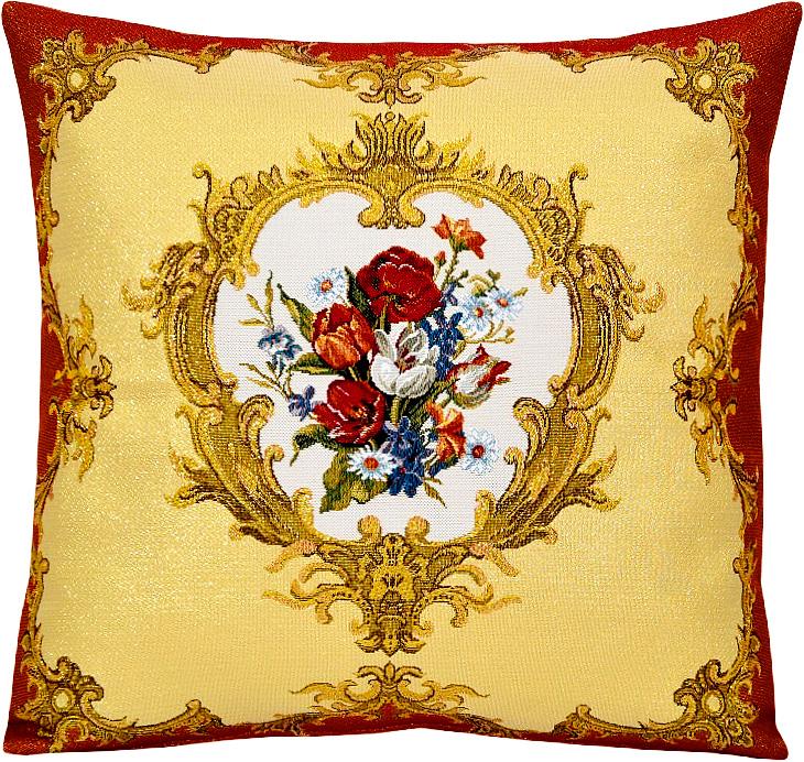 Подушка декоративная Рапира Барокко, 45 х 45 см4618Декоративная подушка с наполнителем холлофайбер со съёмным чехлом на молнии, выполненным из жаккарда, - это яркий штрих в интерьере комнаты. Лицевая сторона - гобелен (жаккардовое ткачество), оборотная сторона -однотонная ткань типа плюш.