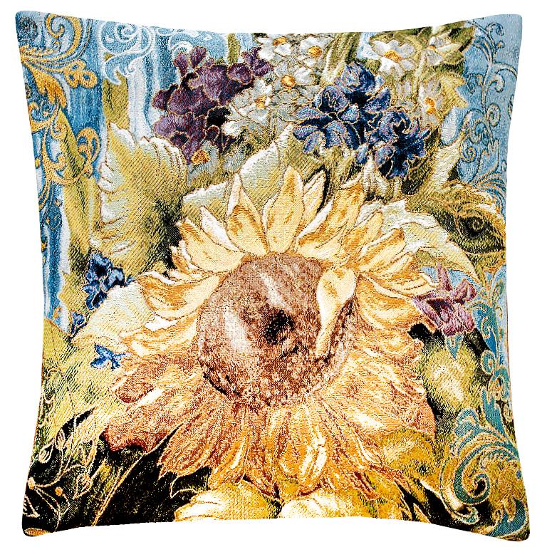 Подушка декоративная Рапира Абрис. Подсолнух, 45 х 45 см3121040640Декоративная подушка с наполнителем холлофайбер со съёмным чехлом на молнии, выполненным из жаккарда, - это яркий штрих в интерьере комнаты. Лицевая сторона - гобелен (жаккардовое ткачество), оборотная сторона -однотонная ткань типа плюш.
