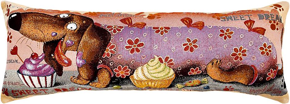 Подушка декоративная Рапира Баловни. Такса. Кекс, 35 х 90 смCLP446Декоративная подушка с наполнителем холлофайбер со съёмным чехлом на молнии, выполненным из жаккарда, - это яркий штрих в интерьере комнаты. Лицевая сторона - гобелен (жаккардовое ткачество), оборотная сторона -однотонная ткань типа плюш.