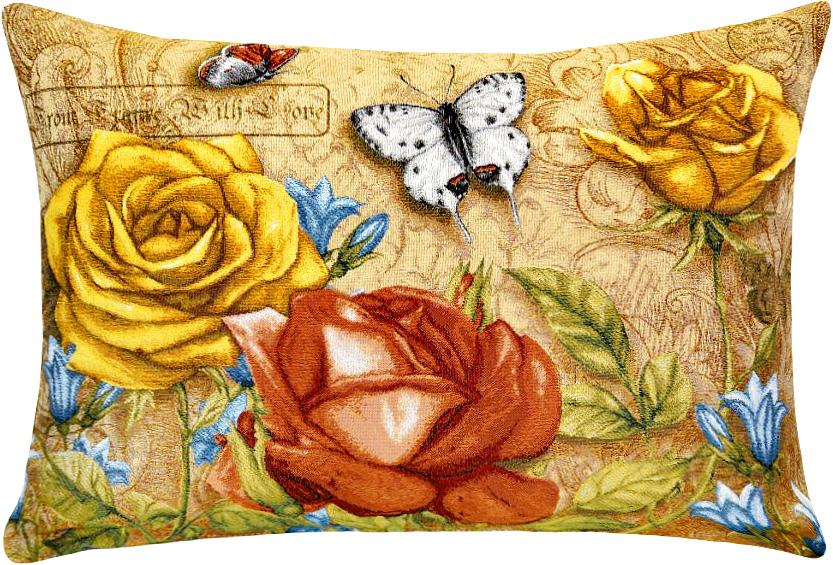 Подушка декоративная Рапира Благоухание. Розы и колокольчики, 50 х 70 см6221CДекоративная гобеленовая подушка со съёмным чехлом на молнии хлопок с полиэфиром.Лицевая сторона гобелен(жаккардовое ткачество),оборотная сторона однотонная ткань типа плюш.
