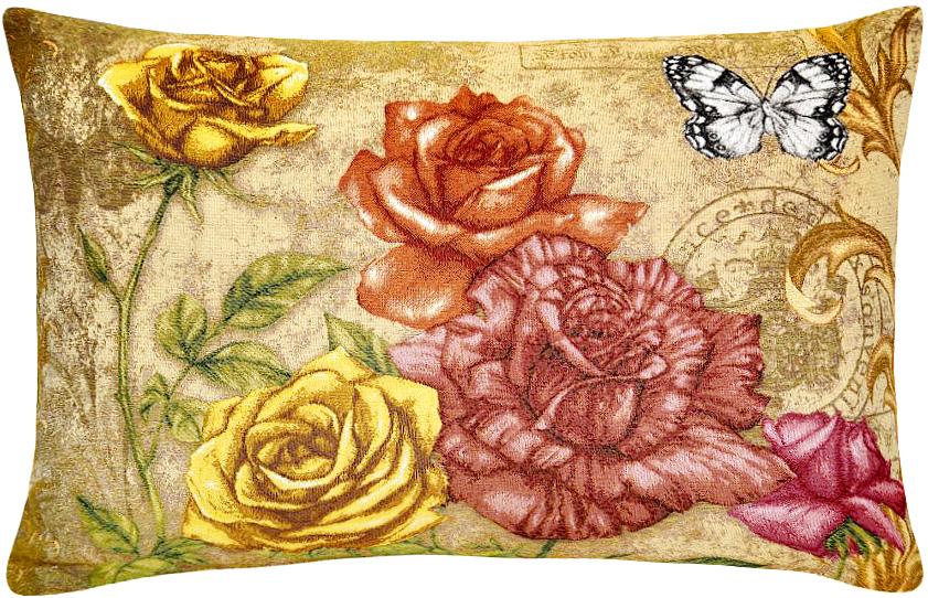 Подушка декоративная Рапира Благоухание. Розы, 50 х 70 см4895Декоративная подушка с наполнителем холлофайбер со съёмным чехлом на молнии, выполненным из жаккарда, - это яркий штрих в интерьере комнаты. Лицевая сторона - гобелен (жаккардовое ткачество), оборотная сторона -однотонная ткань типа плюш.