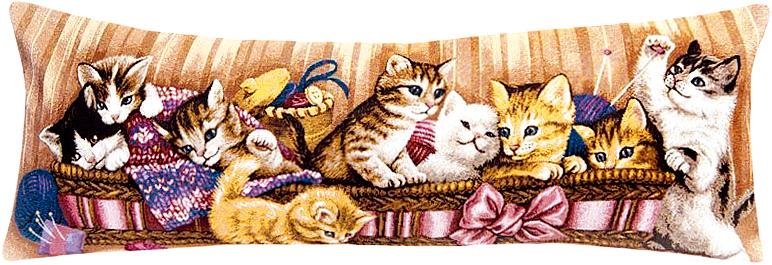 Подушка декоративная Рапира Игривые котята в корзине, 35 х 90 см4474Декоративная гобеленовая подушка со съёмным чехлом на молнии хлопок с полиэфиром.Лицевая сторона гобелен(жаккардовое ткачество),оборотная сторона однотонная ткань типа плюш.