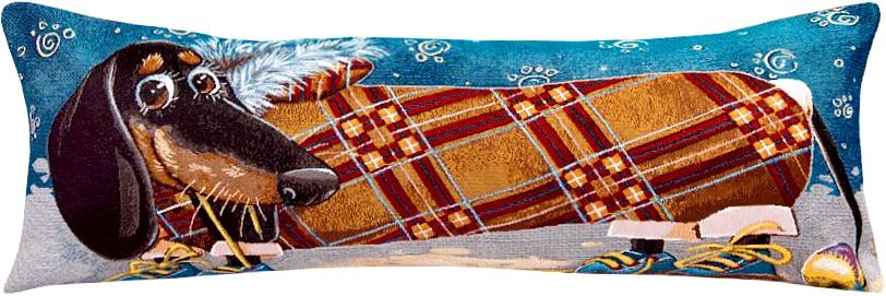 Подушка декоративная Рапира Друзья. Такса. Квадрат, 35 х 85 см5190Декоративная гобеленовая подушка Рапира невероятно мягкая и приятная на ощупь. Съемный чехол подушки дополнен оригинальным рисунком и снабжен молнией. Лицевая сторона изготовлена из гобелена (жаккардовое ткачество, 100% хлопок), оборотная сторона - однотонная ткань типа плюш, выполненная из полиэфира. В качестве наполнителя используется холлофайбер. Такая подушка станет приятным дополнением к интерьеру любой комнаты.