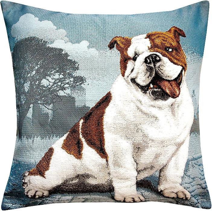 Подушка декоративная Рапира Английский бульдог, 45 х 45 см4956Декоративная подушка с наполнителем холлофайбер со съёмным чехлом на молнии, выполненным из жаккарда, - это яркий штрих в интерьере комнаты. Лицевая сторона - гобелен (жаккардовое ткачество), оборотная сторона -однотонная ткань типа плюш.