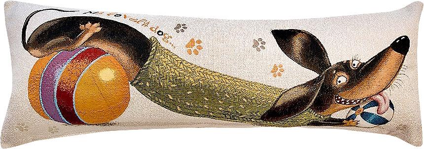 Подушка декоративная Рапира Баловни. Такса. Мячики, 35 х 90 см4981Декоративная подушка с наполнителем холлофайбер со съёмным чехлом на молнии, выполненным из жаккарда, - это яркий штрих в интерьере комнаты. Лицевая сторона - гобелен (жаккардовое ткачество), оборотная сторона -однотонная ткань типа плюш.