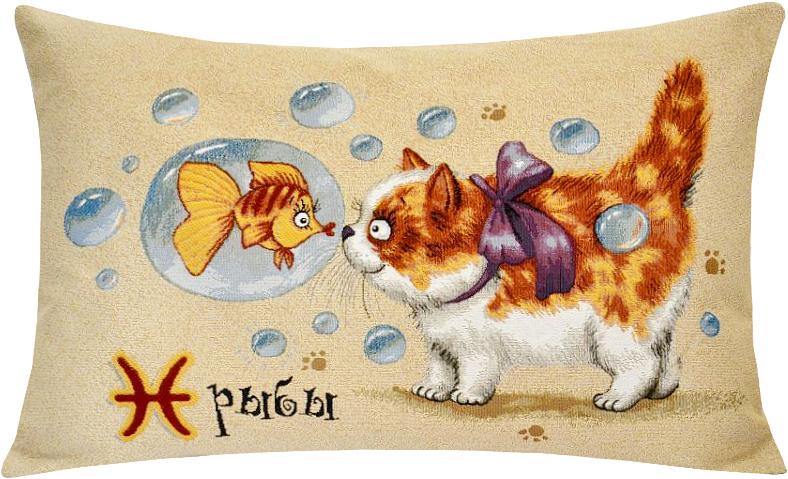 Подушка декоративная Рапира Котята. Рыбы, 50 х 70 см5118Декоративная подушка с наполнителем холлофайбер со съёмным чехлом на молнии, выполненным из жаккарда, - это яркий штрих в интерьере комнаты. Лицевая сторона - гобелен (жаккардовое ткачество), оборотная сторона -однотонная ткань типа плюш.