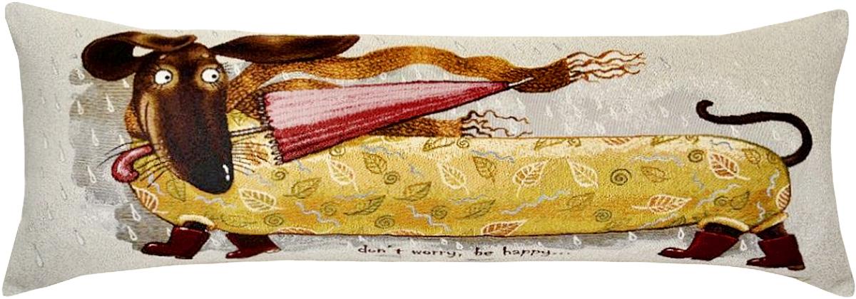 Подушка декоративная Рапира Баловни. Такса с зонтиком, 35 х 90 смCLP446Декоративная гобеленовая подушка Рапира невероятно мягкая и приятная на ощупь. Съемный чехол подушки дополнен оригинальным рисунком и снабжен молнией. Лицевая сторона изготовлена из гобелена (жаккардовое ткачество, 100% хлопок), оборотная сторона - однотонная ткань типа плюш, выполненная из полиэфира. В качестве наполнителя используется холлофайбер. Такая подушка станет приятным дополнением к интерьеру любой комнаты.