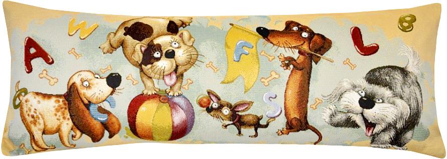 Подушка декоративная Рапира Азбука. Собачки, 35 х 90 смBH-UN0502( R)Декоративная подушка с наполнителем холлофайбер со съёмным чехлом на молнии, выполненным из жаккарда, - это яркий штрих в интерьере комнаты. Лицевая сторона - гобелен (жаккардовое ткачество), оборотная сторона -однотонная ткань типа плюш.
