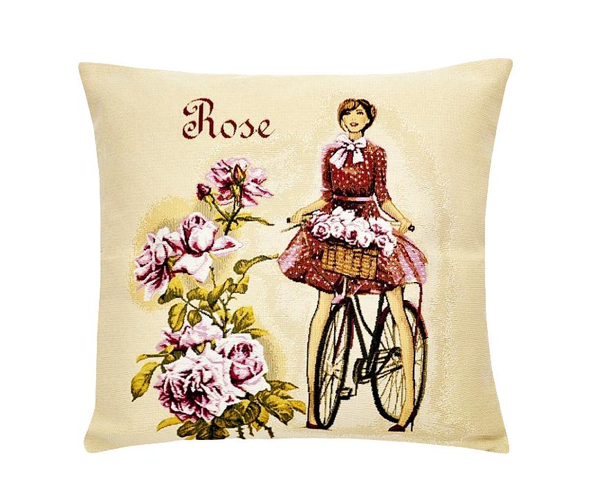 Подушка декоративная Рапира Леди роза, 45 х 45 см17102022Декоративная подушка с наполнителем холлофайбер со съёмным чехлом на молнии, выполненным из жаккарда, - это яркий штрих в интерьере комнаты. Лицевая сторона - гобелен (жаккардовое ткачество), оборотная сторона -однотонная ткань типа плюш.