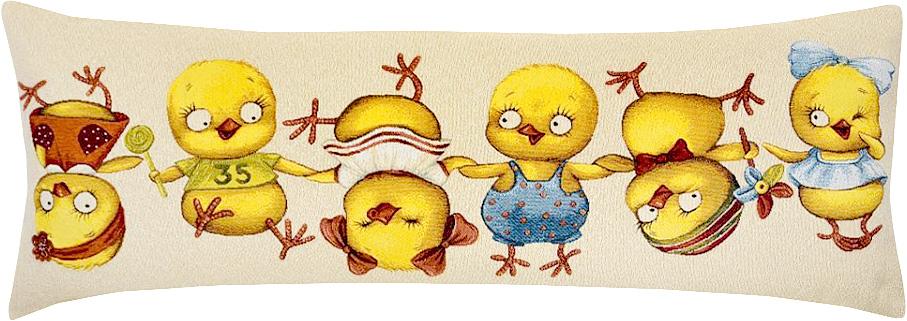 Подушка декоративная Рапира Цып-Цып, 35 х 90 см5241Декоративная подушка с наполнителем холлофайбер со съёмным чехлом на молнии, выполненным из жаккарда, - это яркий штрих в интерьере комнаты. Лицевая сторона - гобелен (жаккардовое ткачество), оборотная сторона -однотонная ткань типа плюш.