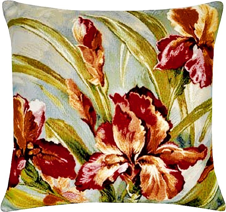 Подушка декоративная Рапира Акварель. Ирисы, 45 х 45 см3122217630Декоративная подушка с наполнителем холлофайбер со съёмным чехлом на молнии, выполненным из жаккарда, - это яркий штрих в интерьере комнаты. Лицевая сторона - гобелен (жаккардовое ткачество), оборотная сторона -однотонная ткань типа плюш.