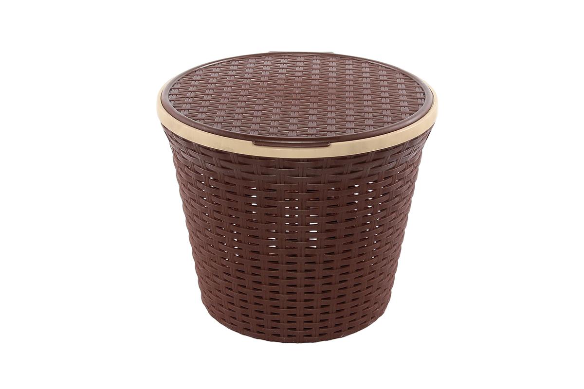 Корзина для хранения Violet Ротанг, с крышкой, 33 х 33 х 27 см. 81025168/5/3Корзина для хранения Violet Ротанг круглая с крышкой, имитирующая плетение ротанг. Удобная, вместительная, впишется в любой интерьер.