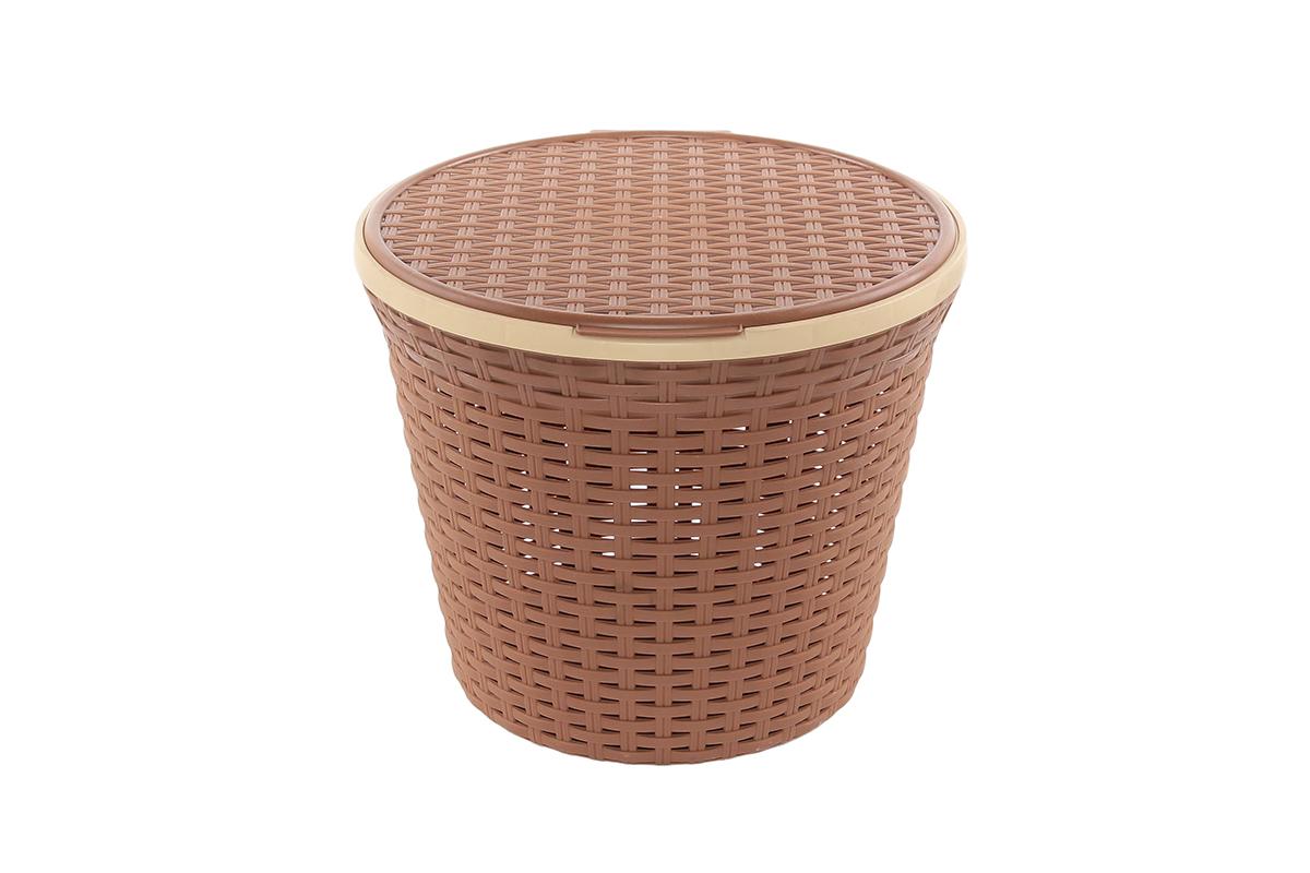 Корзина для хранения Violet Ротанг, с крышкой, цвет: коричневый, 33 х 33 х 27 см74-0120Круглая корзина Violet Ротанг с крышкой, изготовленная из полипропилена, имитирующая плетение ротанг, предназначена для хранения мелочей в ванной, на кухне, даче или гараже. Позволяет хранить мелкие вещи, исключая возможность их потери. Это легкая корзина со сплошным дном, жесткой кромкой, с небольшими отверстиями на стенках.