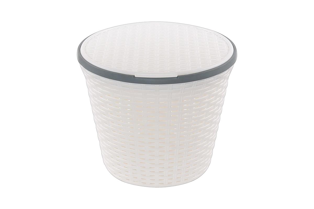 Корзина для хранения Violet Ротанг, с крышкой, 33 х 33 х 27 см. 810536391602Корзина для хранения Violet Ротанг круглая с крышкой, имитирующая плетение ротанг. Удобная, вместительная, впишется в любой интерьер.
