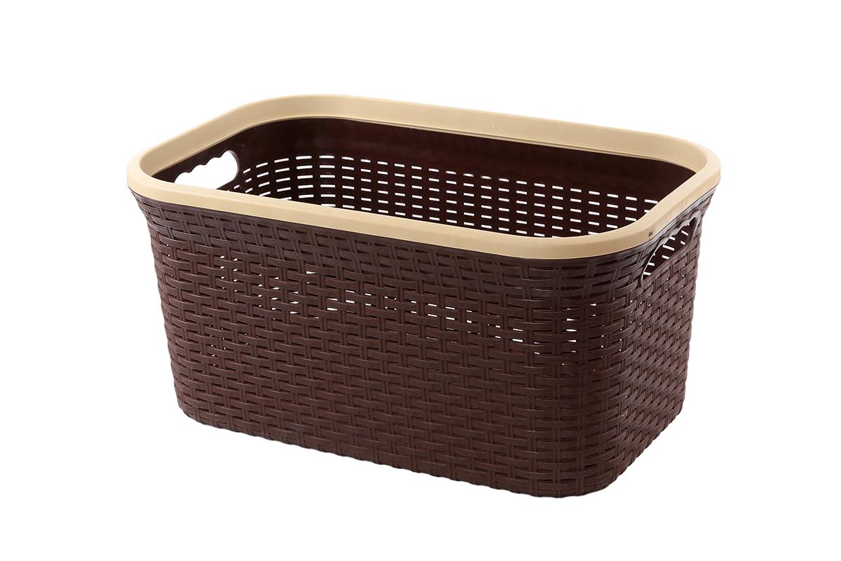 Корзина для хранения Violet Ротанг, цвет: темно-коричневый, 50 х 33 х 25 см74-0120Прямоугольная корзина Violet Ротанг, изготовленная из полипропилена, имитирующая плетение ротанг, предназначена для хранения мелочей в ванной, на кухне, даче или гараже. Позволяет хранить мелкие вещи, исключая возможность их потери. Это легкая корзина со сплошным дном, жесткой кромкой, с небольшими отверстиями на стенках.