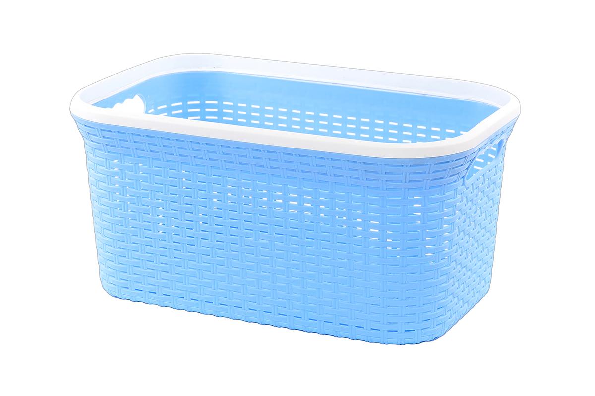 Корзина для хранения Violet Ротанг, цвет: голубой, 50 х 33 х 25 см25051 7_зеленыйПрямоугольная корзина Violet Ротанг, изготовленная из полипропилена, имитирующая плетение ротанг, предназначена для хранения мелочей в ванной, на кухне, даче или гараже. Позволяет хранить мелкие вещи, исключая возможность их потери. Это легкая корзина со сплошным дном, жесткой кромкой, с небольшими отверстиями на стенках.