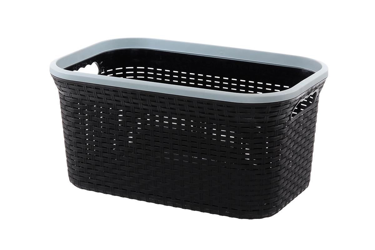 Корзина для хранения Violet Ротанг, цвет: черный, 54 х 35 х 26 смPARIS 75015-1W ANTIQUEПрямоугольная корзина Violet Ротанг, изготовленная из полипропилена, имитирующая плетение ротанг, предназначена для хранения мелочей в ванной, на кухне, даче или гараже. Позволяет хранить мелкие вещи, исключая возможность их потери. Это легкая корзина со сплошным дном, жесткой кромкой, с небольшими отверстиями на стенках.