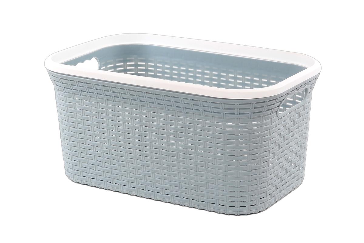Корзина для хранения Violet Ротанг, цвет: серый, 54 х 35 х 26 см1004900000360Прямоугольная корзина Violet Ротанг, изготовленная из полипропилена, имитирующая плетение ротанг, предназначена для хранения мелочей в ванной, на кухне, даче или гараже. Позволяет хранить мелкие вещи, исключая возможность их потери. Это легкая корзина со сплошным дном, жесткой кромкой, с небольшими отверстиями на стенках.