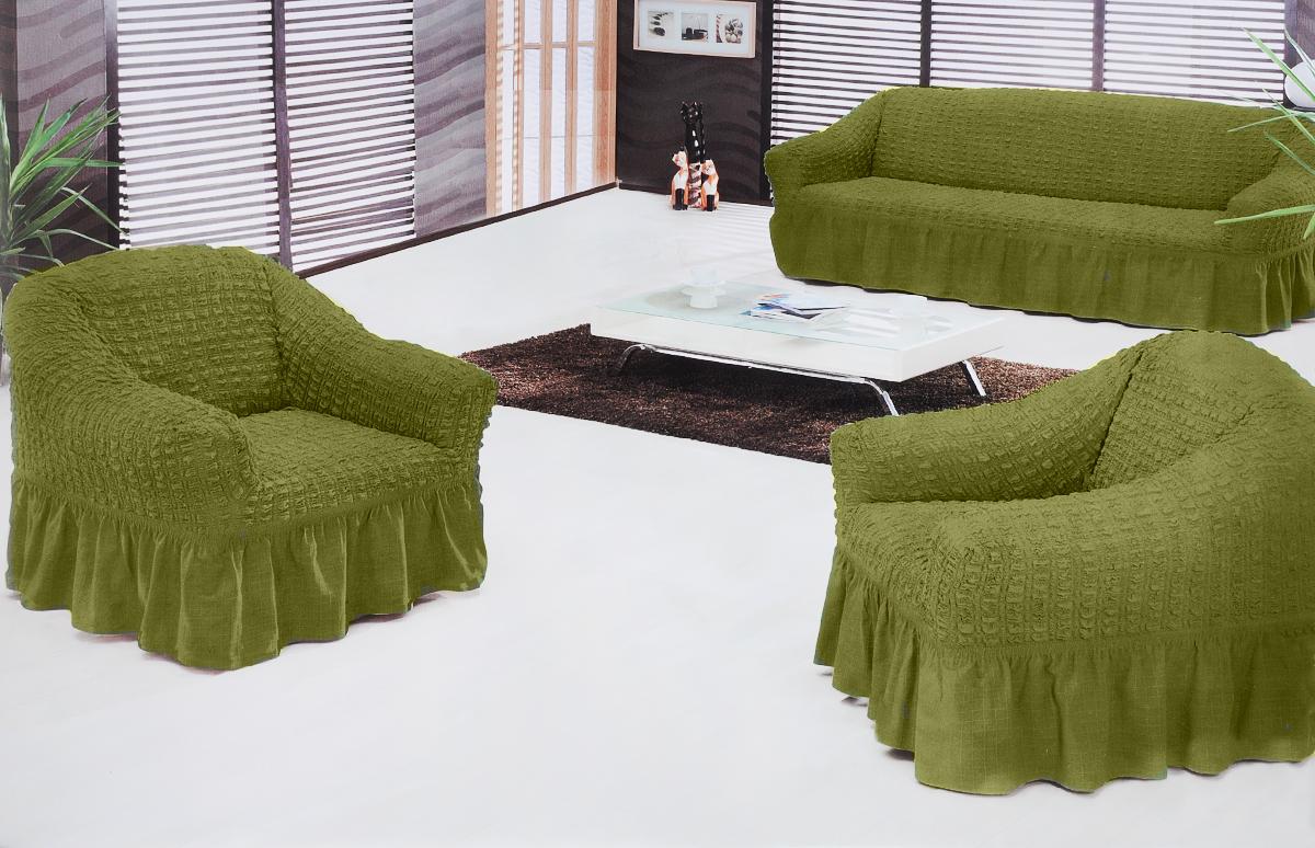 Набор чехлов для мягкой мебели Burumcuk Bulsan, цвет: зеленый, размер: стандарт, 3 шт1717/CHAR015Набор чехлов для мягкой мебели Burumcuk Bulsan придаст вашеймебели новый внешний вид. Каждый элемент интерьерануждается в уходе и защите. В большинстве случаевпотертости появляются на диванах и креслах. В набор входит чехол для трехместного дивана и два чехла для кресла. Чехлы изготовлены из 60% полиэстера и 40% хлопка. Такой материал прекрасно переносит нагрузки, долго не стареет и его просто очистить от грязи. Набор чехлов Karna Bulsan создан для тех, кто не планирует покупать новую мебель каждый год.Размер кресла:Ширина и глубина посадочного места: 70-80 см.Высота спинки от посадочного места: 70-80 см.Высота подлокотников: 35-45 см.Ширина подлокотников: 25-35 см.Высота юбки: 35 см.Размер дивана:Ширина посадочного места: 210-260 см.Глубина посадочного места: 70-80см.Высота спинки от посадочного места: 70-80 см.Ширина подлокотников: 25-35 см.Высота юбки: 35 см.