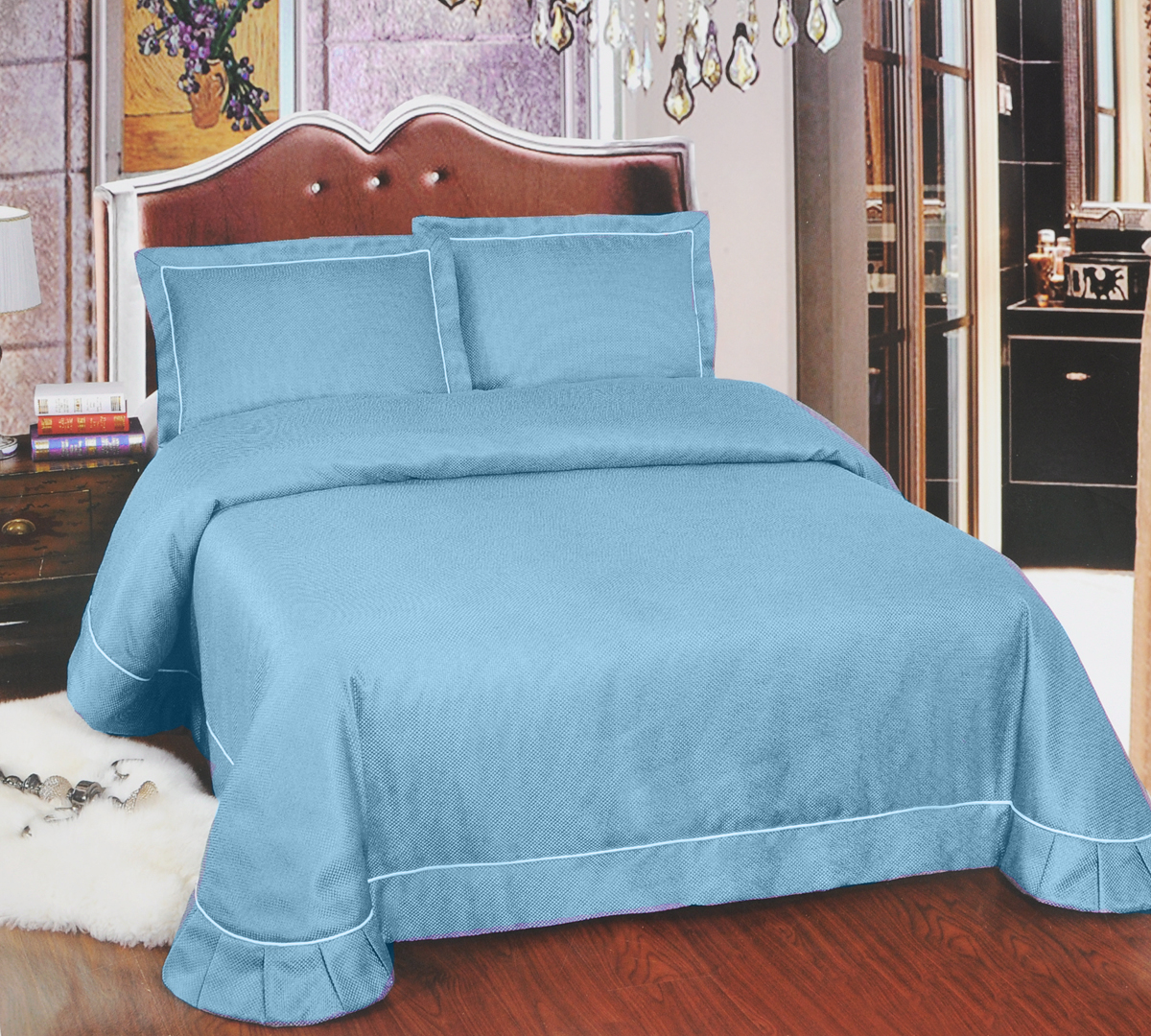 Комплект для спальни Arya Girona: покрывало 250 х 260 см, 2 наволочки 50 х 70 см, цвет: голубойES-412Изысканный комплект для спальни Arya Girona состоит из покрывала и двух наволочек. Изделия выполнены из высококачественного полиэстера, легкие, прочные и износостойкие. Ткань матовая, что придает ей очень большое сходство с хлопком.Комплект Arya Girona - это отличный способ придать спальне уют и комфорт.Размер покрывала: 250 х 260 см.Размер наволочки: 50 х 70 см.