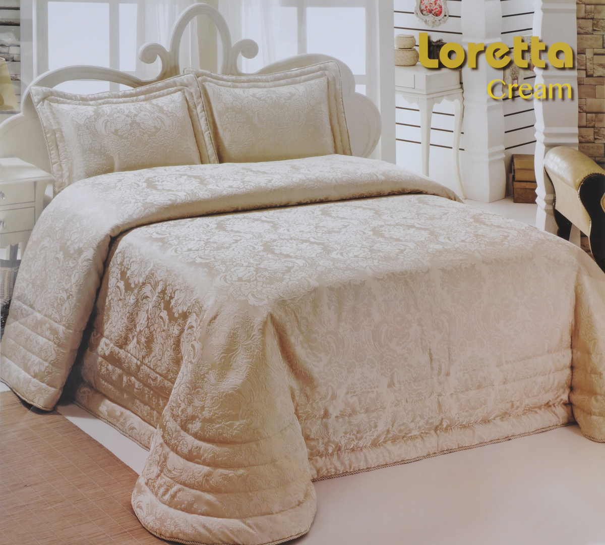 Комплект для спальни Modalin Nazsu. Loretta: покрывало 250 х 270 см, 2 наволочки 50 х 70 см, цвет: кремовый5021/CHAR01Изысканный комплект для спальни Modalin Nazsu. Loretta состоит из покрывала и двух наволочек. Изделия выполнены из высококачественного полиэстера и хлопка, легкие, прочные и износостойкие. Ткань блестящая, что придает ей больше роскошиКомплект Modalin Nazsu. Loretta - это отличный способ придать спальне уют и комфорт.Размер покрывала: 250 х 270 см.Размер наволочек: 50 х 70 см.
