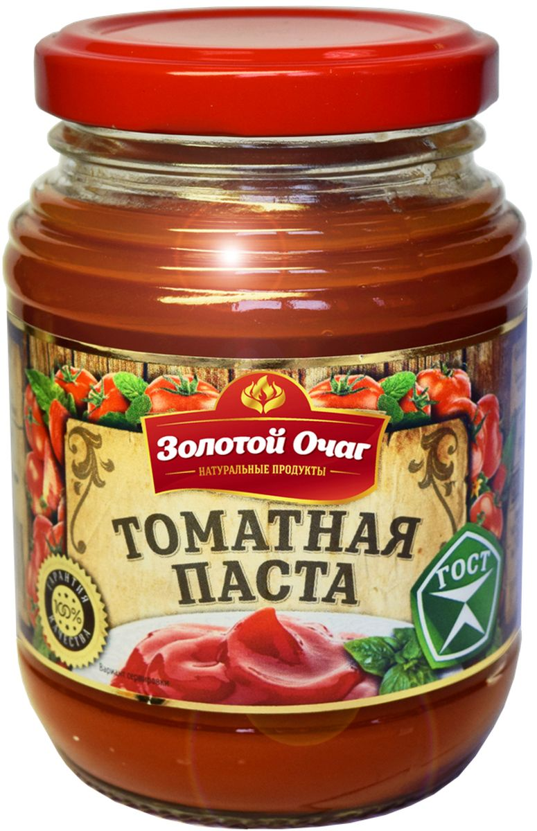 Золотой Очаг томатная паста, 270 г0120710Томатную пасту добавляют в первые и вторые блюда для придания характерного томатного вкуса и яркого цвета.