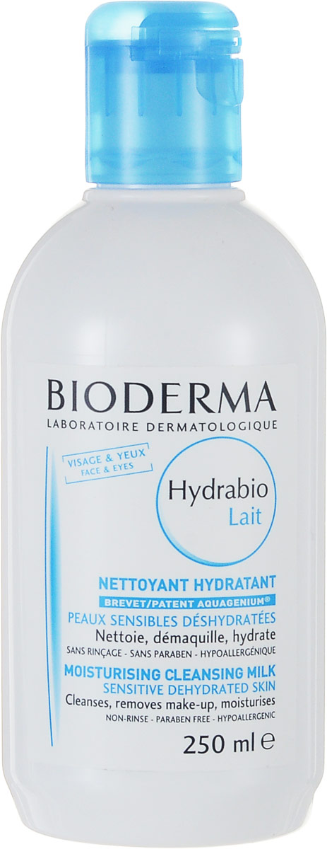 Bioderma Молочко для очищения лица Hydrabio, 250 млFS-00103Очищающее средство, обладающее мягкостью молочка и свежестью воды восстанавливает механизм увлажнения, мягко очищает кожу, увлажняет, устраняет дискомфорт. Великолепная переносимость. Биологический запатентованный комплекс Акважениум воздействует на механизмы, приводящие к накоплению влаги, удержанию ее на поверхности, что необходимо для сохранения естественного баланса. Возвращает коже комфорт, мягкость и сияние.