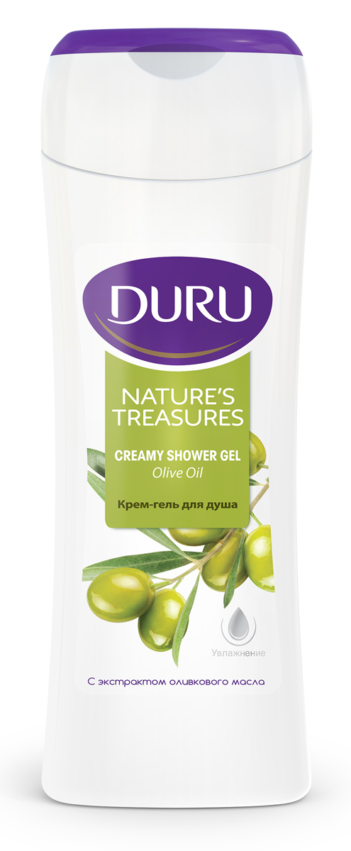 Duru Natures Treasures Гель для душа Олива 250млМ022/G520Благодаря уникальному сочетанию увлажняющих масел с оливковым маслом, крем-гель для душа обеспечивает ощущение свежести и бережную заботу.