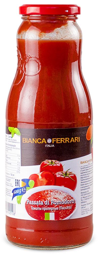 Bianka Ferrari томаты протертые, 680 г0120710Томаты протертые (Пассата) Bianka Ferrari изготовлены по Итальянским традициям.Они привносят в ваши блюда страсть и истинный аромат ценностей, а насыщенный вкус позволяет готовить кулинарные шедевры.